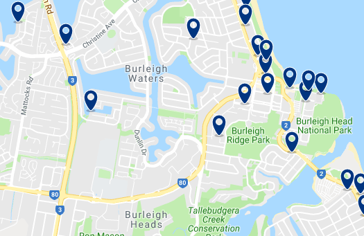 Accommodation in Burleigh Heads – Click on the map to see all accommodation in this area