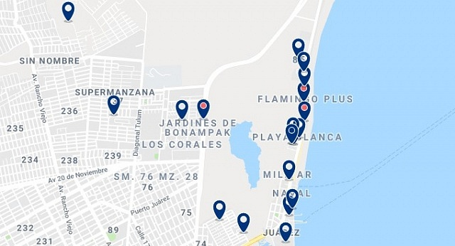 Accommodation in Puerto Juarez - Click on the map to see all available accommodation in this area