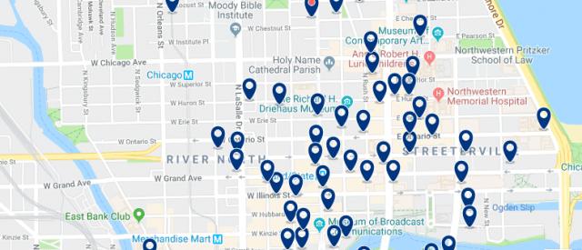 Alojamiento en River North & Magnificent Mile - Clica sobre el mapa para ver todo el alojamiento en esta zona