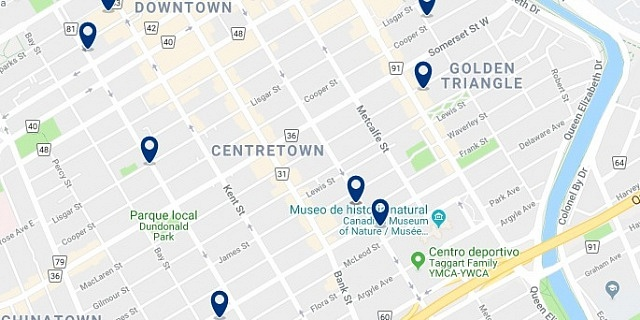 Accommodation in Ottawa Centretown - Click on the map to see all available accommodation in this area