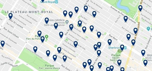 Alojamiento en Plateau Mont Royal – Clica sobre el mapa para ver todo el alojamiento en esta zona