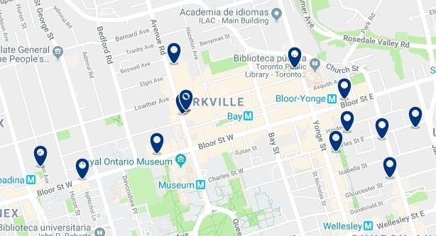 Alojamiento en Bloor - Yorkville - Clica sobre el mapa para ver todo el alojamiento en esta zona