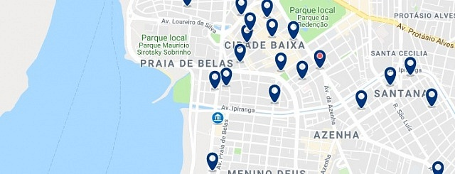 Accommodation in Praia de Belas & Cidade Baixa - Click on the map to see all available accommodation in this area