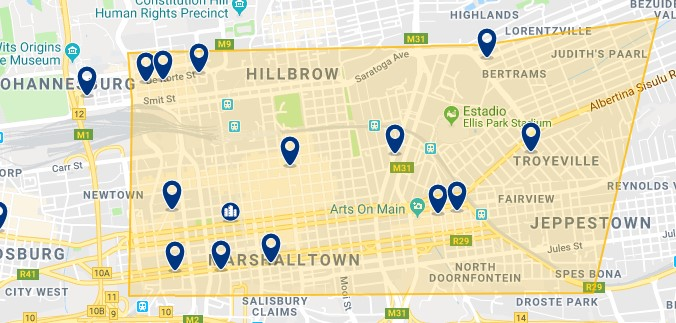 Accommodation in Downtown Johannesburg - Click on the map to see all available accommodation in this area