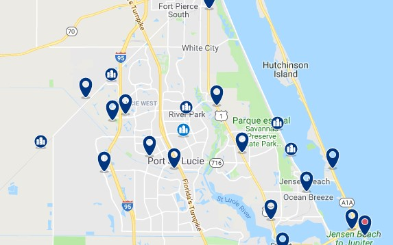 Accommodation in Port Saint Lucie - Click on the map to see all available accommodation in this area