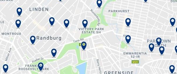 Alojamiento en Randburg - Clica sobre el mapa para ver todo el alojamiento en esta zona