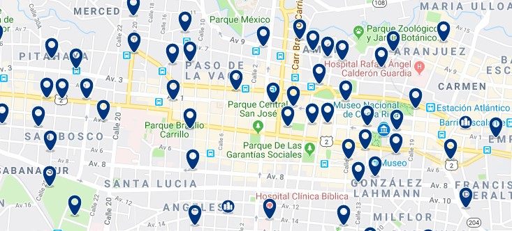 Accommodation in San José - Centro - Click on the map to see all accommodation in this area
