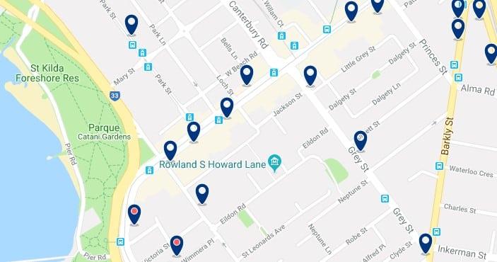 Alojamiento en St Kilda - Clica sobre el mapa para ver todo el alojamiento en esta zona