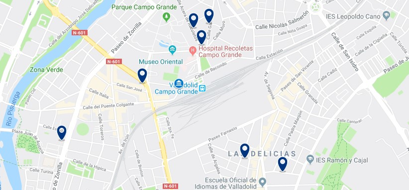 Alojamiento cerca de la estación de trenes de Valladolid - Haz clic para ver todos el alojamiento disponible en esta zona