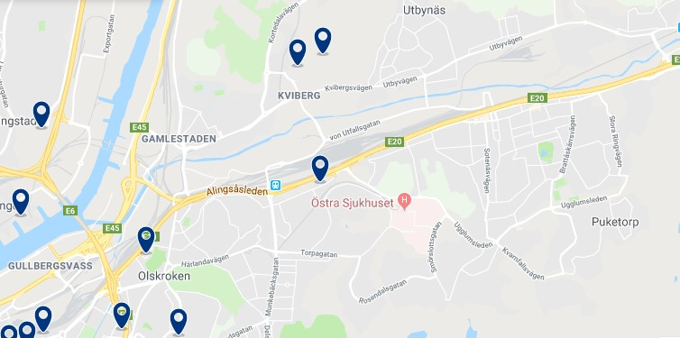 Accommodation in Örgryte-Härlanda - Click on the map to see all available accommodation in this area