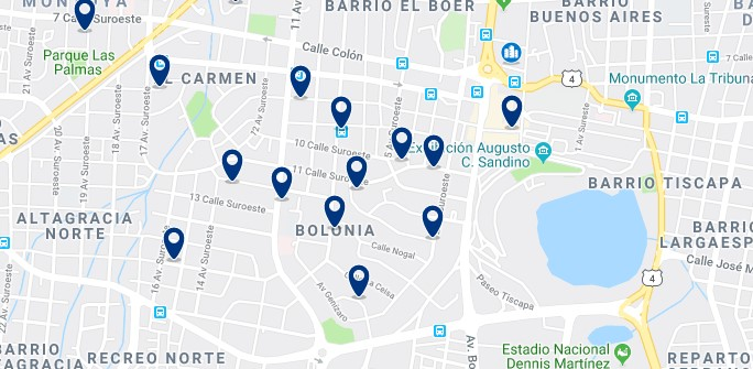 Accommodation in Bolonia, Managua - Click on the map to see all accommodation in this area