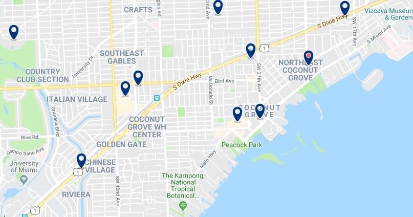 Alojamiento en Coconut Grove - Haz clic para ver todos el alojamiento disponible en esta zona