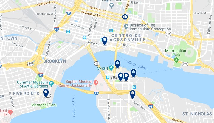 Accommodation in Downtown Jacksonville - Click on the map to see all available accommodation in this area