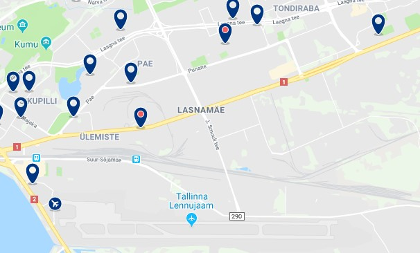 Accommodation in Lasnamäe - Click on the map to see all available accommodation in this area