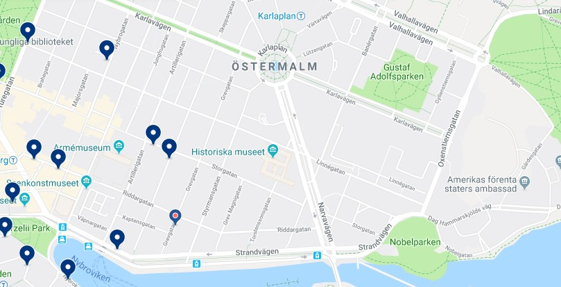 Accommodation in Östermalm - Click on the map to see all available accommodation in this area
