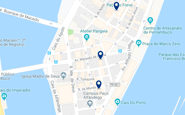 Accommodation in Recife City Center – Click on the map to see all available accommodation in this area