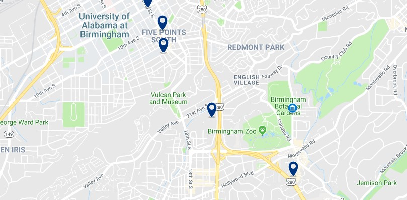 Alojamiento cerca de los Jardines Botánicos de Birmingham - Haz clic para ver todos el alojamiento disponible en esta zona