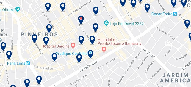 Alojamiento en Pinheiros - Clica sobre el mapa para ver todo el alojamiento en esta zona