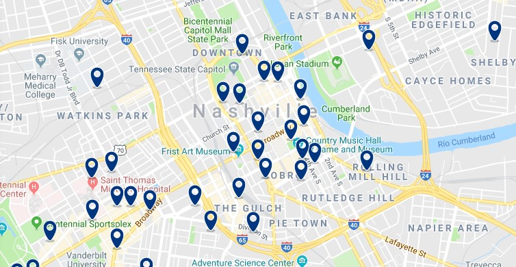 Alojamiento en Downtown Nashville - Haz clic para ver todos el alojamiento disponible en esta zona