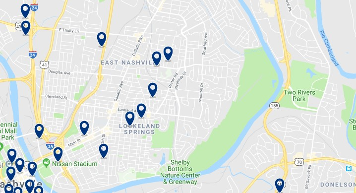 Alojamiento en East Nashville - Haz clic para ver todos el alojamiento disponible en esta zona