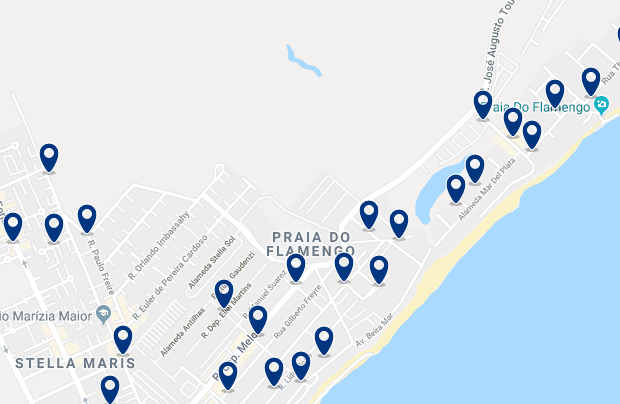 Accommodation in Flamengo – Click on the map to see all available accommodation in this area
