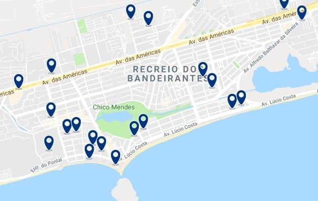 Alojamiento en Recreio dos Bandeirantes - Clica sobre el mapa para ver todo el alojamiento en esta zona