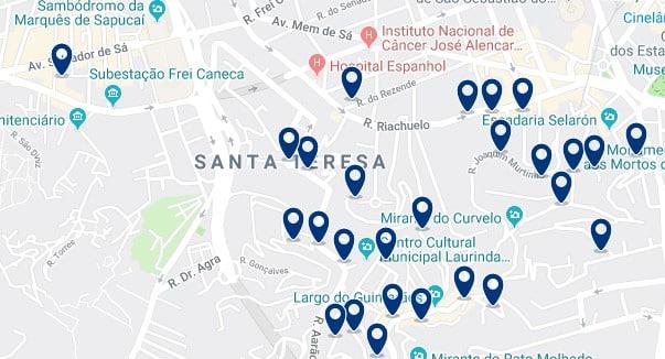 Alojamiento en Santa Teresa - Clica sobre el mapa para ver todo el alojamiento en esta zona