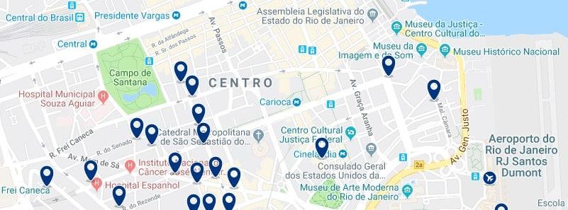 Alojamiento en el centro de Río de Janeiro - Clica sobre el mapa para ver todo el alojamiento en esta zona