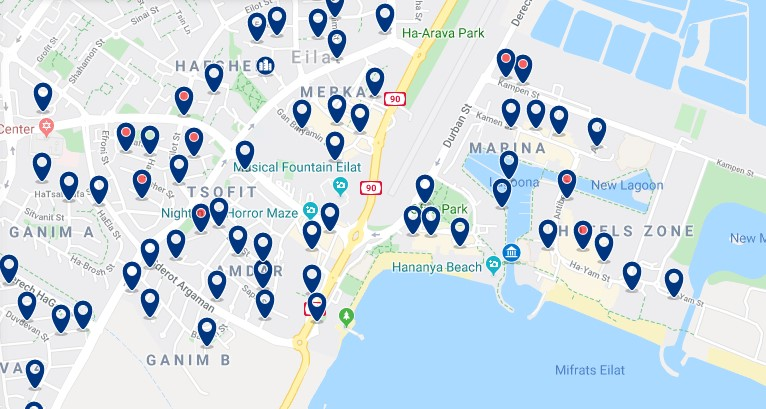 Alojamiento cerca del paseo marítimo de Eilat - Haz clic para ver todos el alojamiento disponible en esta zona