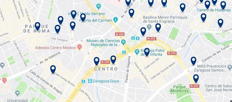 Alojamiento en el Distrito Centro de Zaragoza - Haz clic para ver todos el alojamiento disponible en esta zona