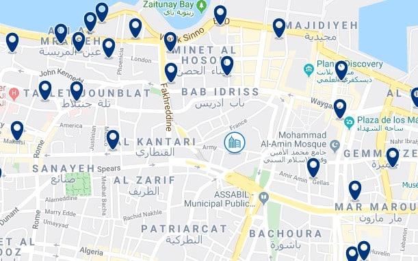 Alojamiento en Downtown Beirut - Clica sobre el mapa para ver todo el alojamiento en esta zona