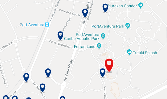 Accommodation in PortAventura - Click on the map to see all the accommodation in this area