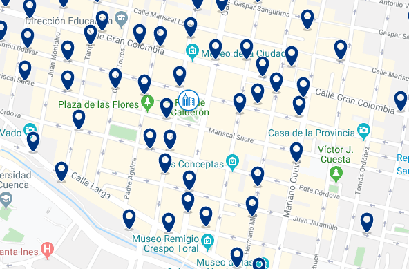 Accommodation in Cuenca City Center - Click on the map to see all available accommodation in this area