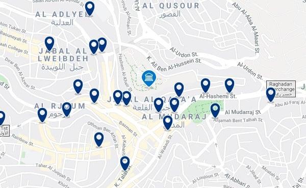 Alojamiento cerca de la Ciudadela de Amán - Clica sobre el mapa para ver todo el alojamiento en esta zona