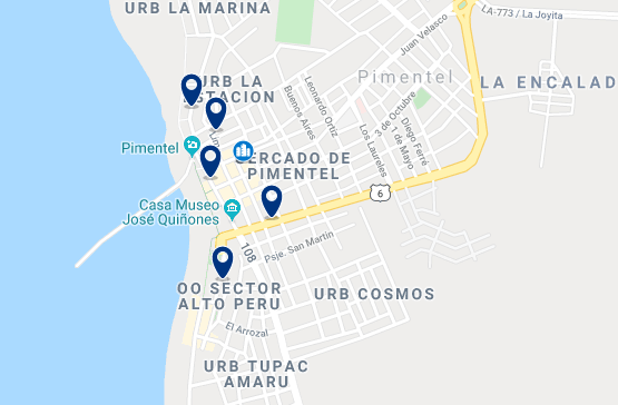 Accommodation in Pimentel - Click on the map to see all accommodation in this area