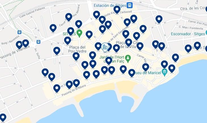 Alojamiento en el centro de Sitges - Clica sobre el mapa para ver todo el alojamiento en esta zona