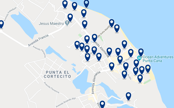 Accommodation in Cortecito - Click on the map to see all available accommodation in this area