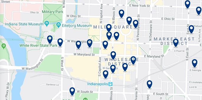 Accommodation in Downtown Indianapolis - Click on the map to see all available accommodation in this area