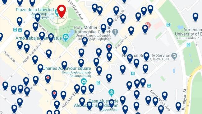 Alojamiento en el centro de Ereván - Clica sobre el mapa para ver todo el alojamiento en esta zona