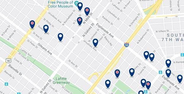 Alojamiento en Tremé - Clica sobre el mapa para ver todo el alojamiento en esta zona