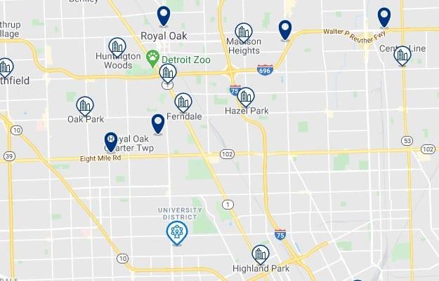 Alojamiento cerca de la Universidad de Detroit Mercy - Clica sobre el mapa para ver todo el alojamiento en esta zona