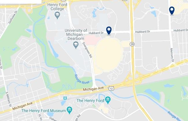 Alojamiento cerca de la Universidad de Michigan Dearborn - Clica sobre el mapa para ver todo el alojamiento en esta zona