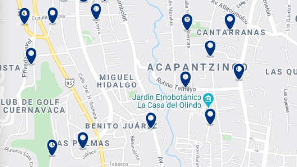 Accommodation in Acapantzingo – Click on the map to see all available accommodation in this area