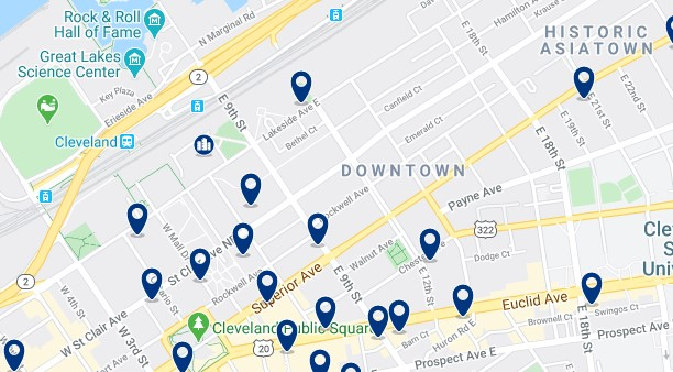 Alojamiento en Downtown Cleveland - Clica sobre el mapa para ver todo el alojamiento en esta zona