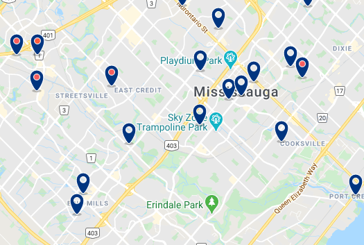 Accommodation in Mississauga City Centre - Click on the map to see all available accommodation in this area