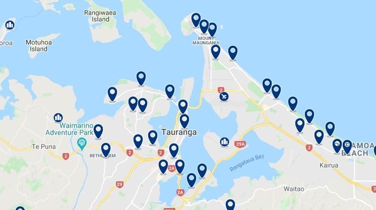 Alojamiento en Tauranga - Haz clic para ver todos el alojamiento disponible en esta zona