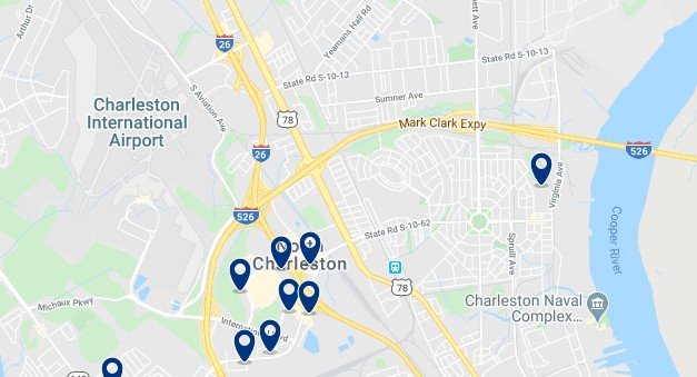 Accommodation near Charleston International Airport - Click on the map to see all available accommodation in this area