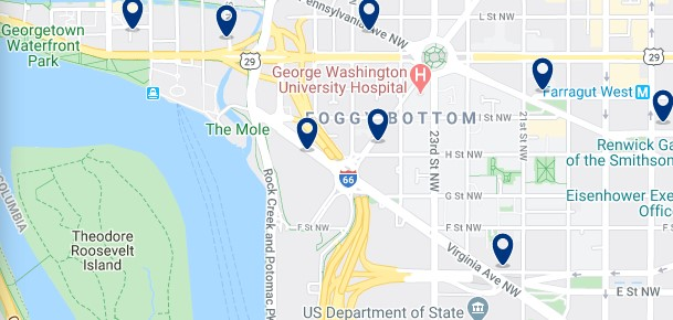 Accommodation in Foggy Bottom - Click on the map to see all available accommodation in this area