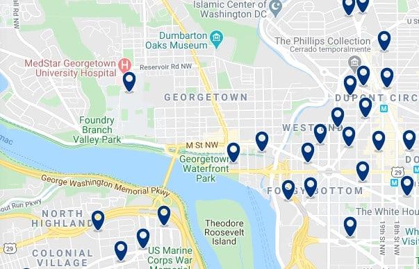 Alojamiento en Georgetown - Clica sobre el mapa para ver todo el alojamiento en esta zona
