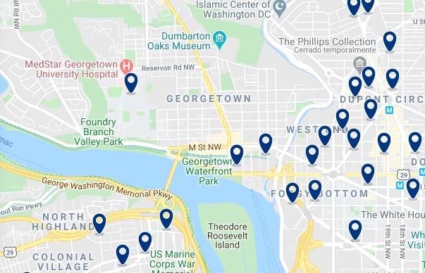 Accommodation in Georgetown - Click on the map to see all available accommodation in this area